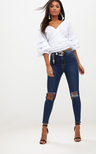 c596fd3eb0 Open Knee Rip Dark Wash High Waisted Skinny Jean