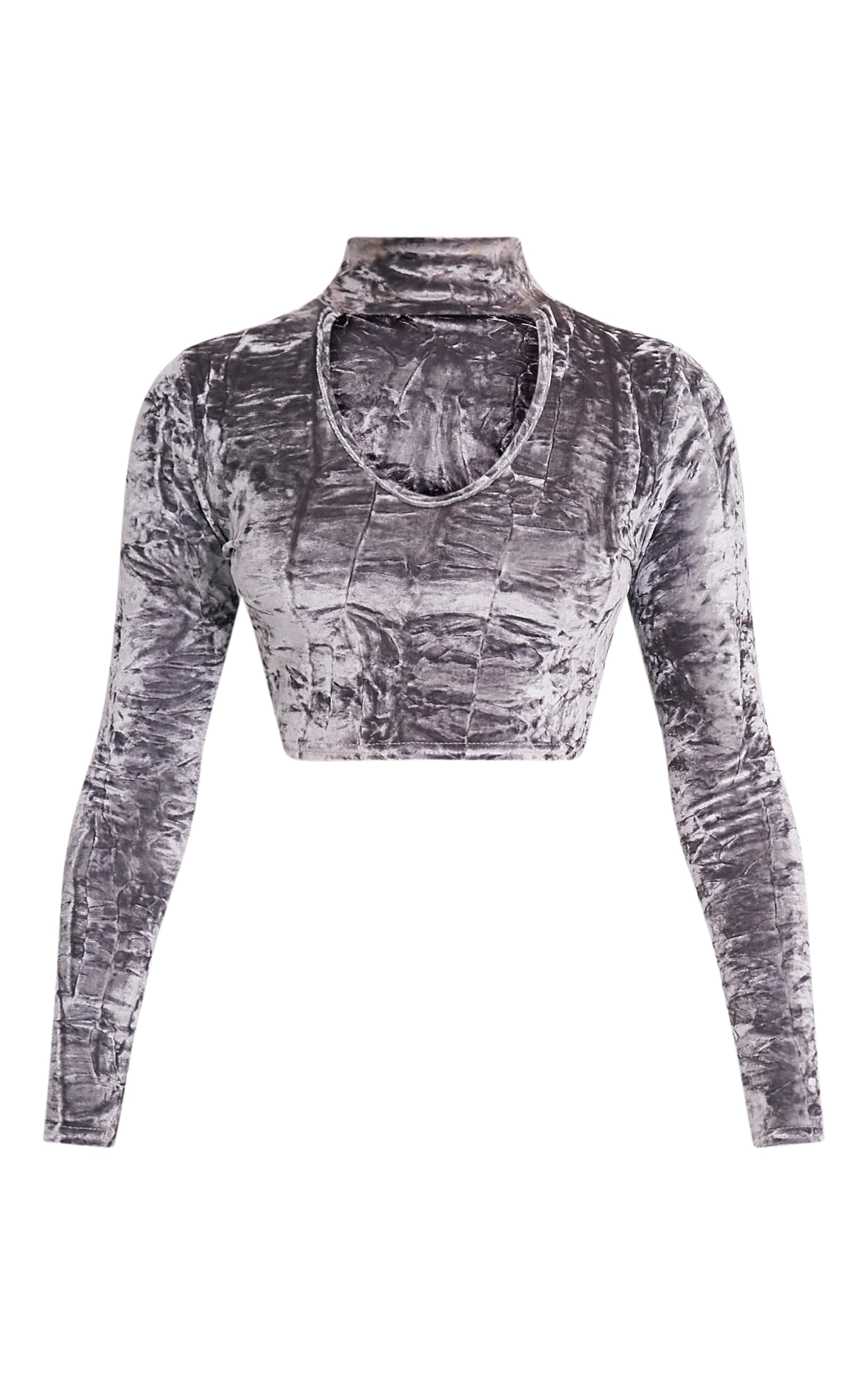 Jenifer Grey Crushed Velvet Cut Out Neck Crop Top 3