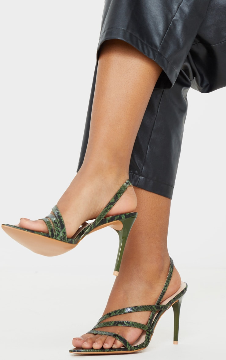Khaki Snake Slingback Strappy Sandal 2