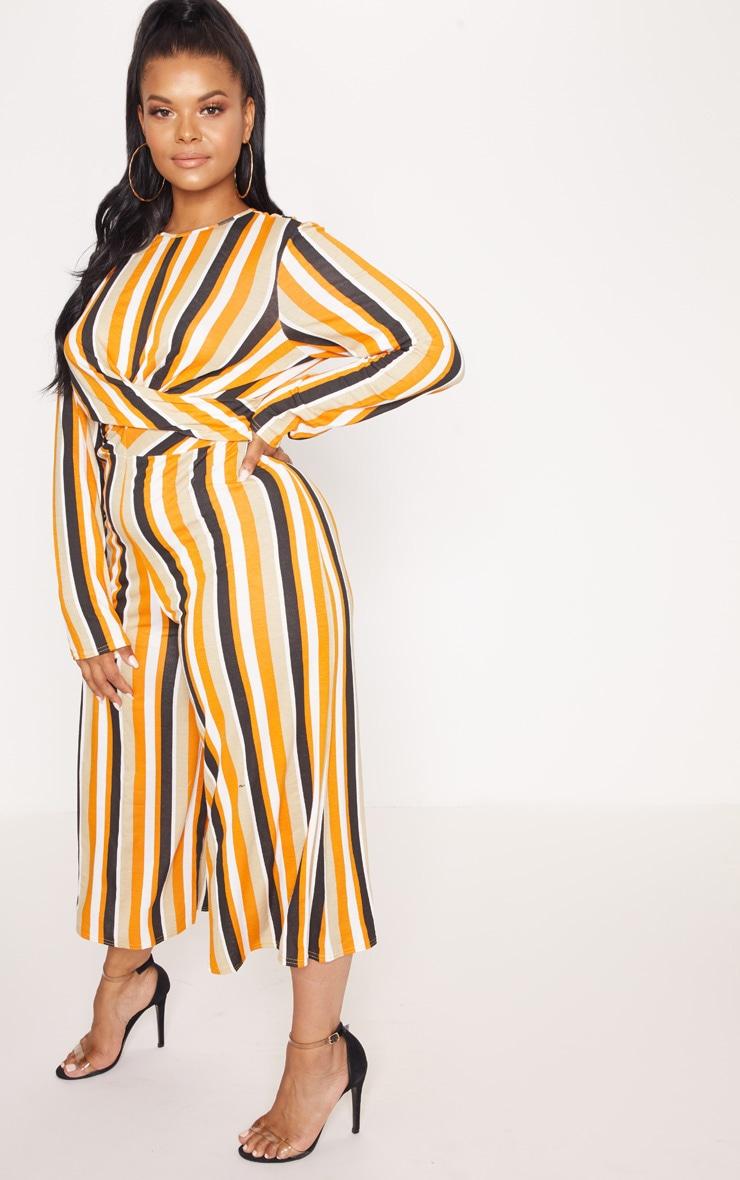 Plus Orange Twist Front Stripe Culotte Jumpsuit 4