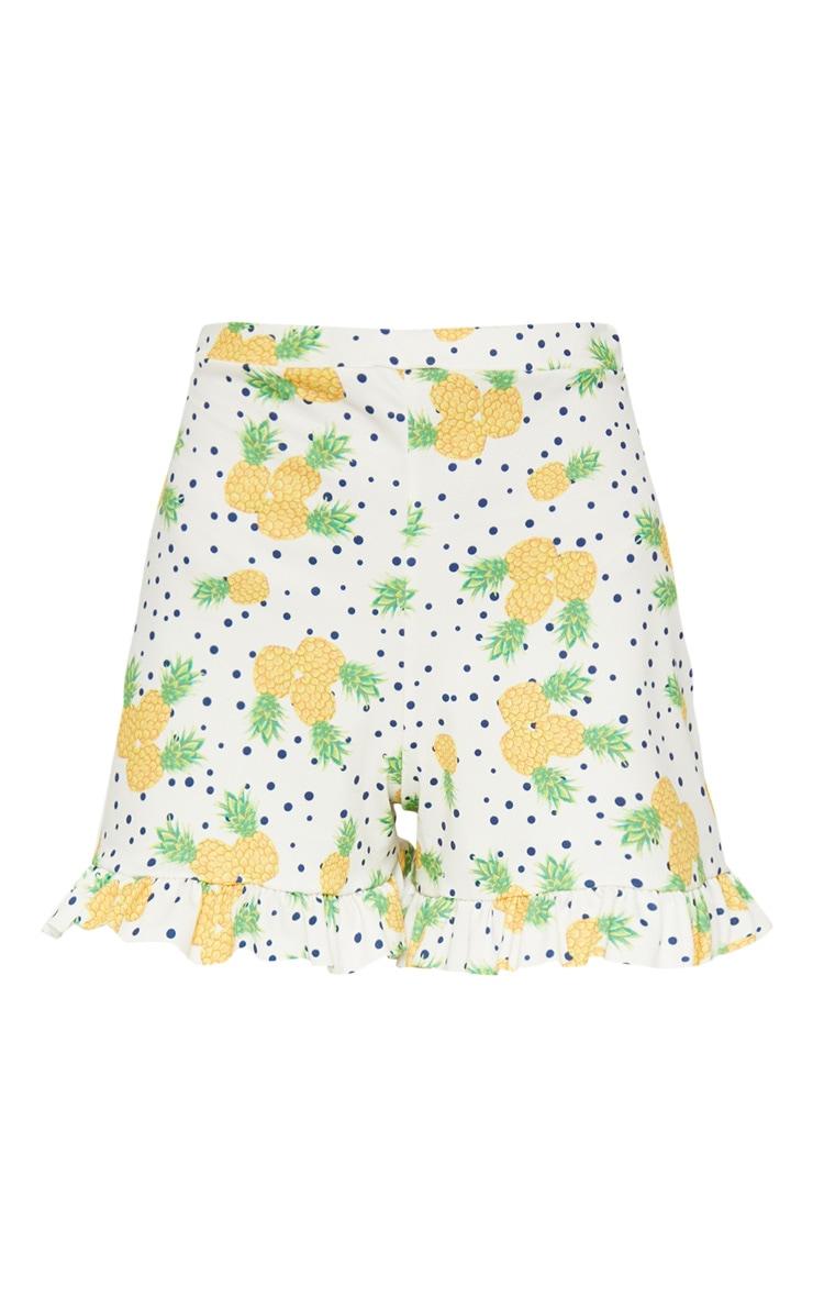 White Pineapple Print Frill Hem Short 3