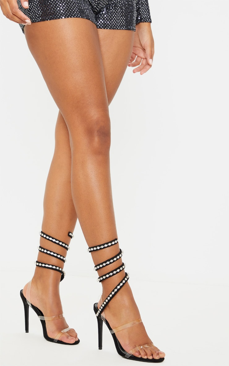 Black Diamante Embellished Ankle Wrap Sandal 2