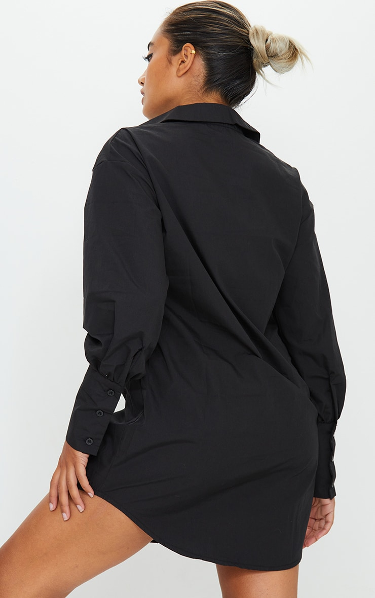 Petite Black Oversized Cuff Shirt Dress 2