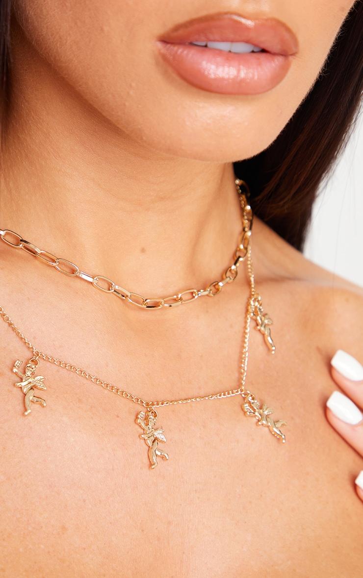 Gold Layering Cherub Necklace 2
