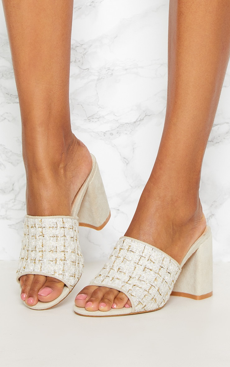 PRETTYLITTLETHING Cream Tweed Block Heel Mule QZzetxrL6