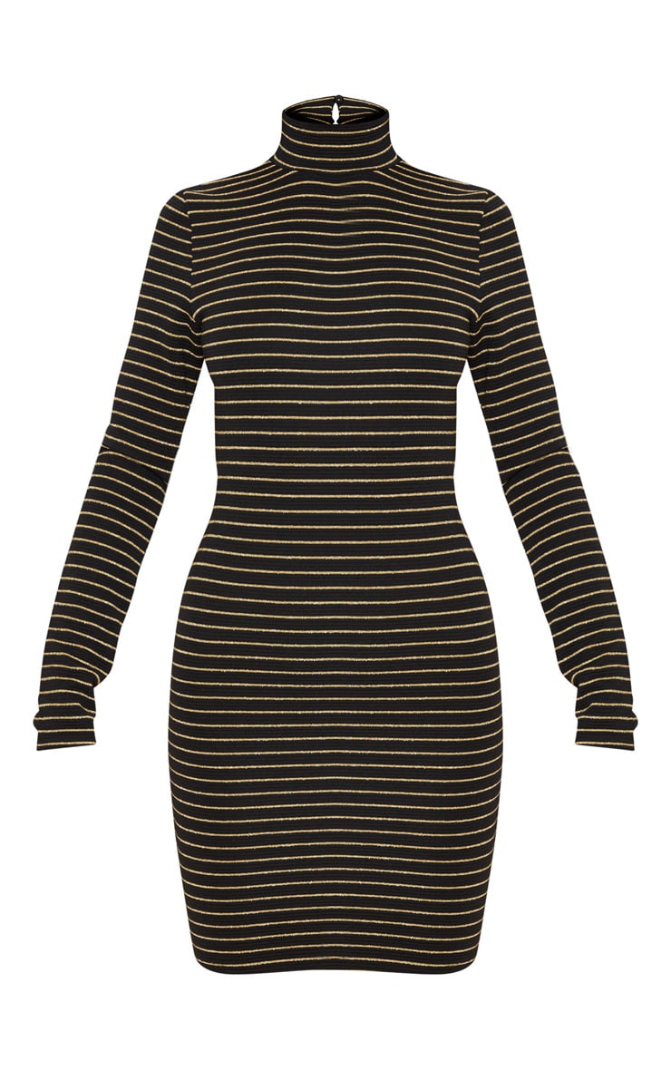 Black Ribbed Stripe High Neck Scoop Back Bodycon Dress 3
