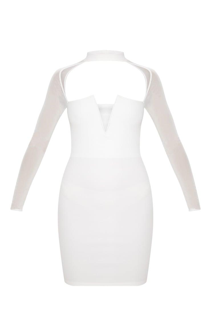 White Choker Neck Mesh Sleeve V Plunge Bodycon Dress 3