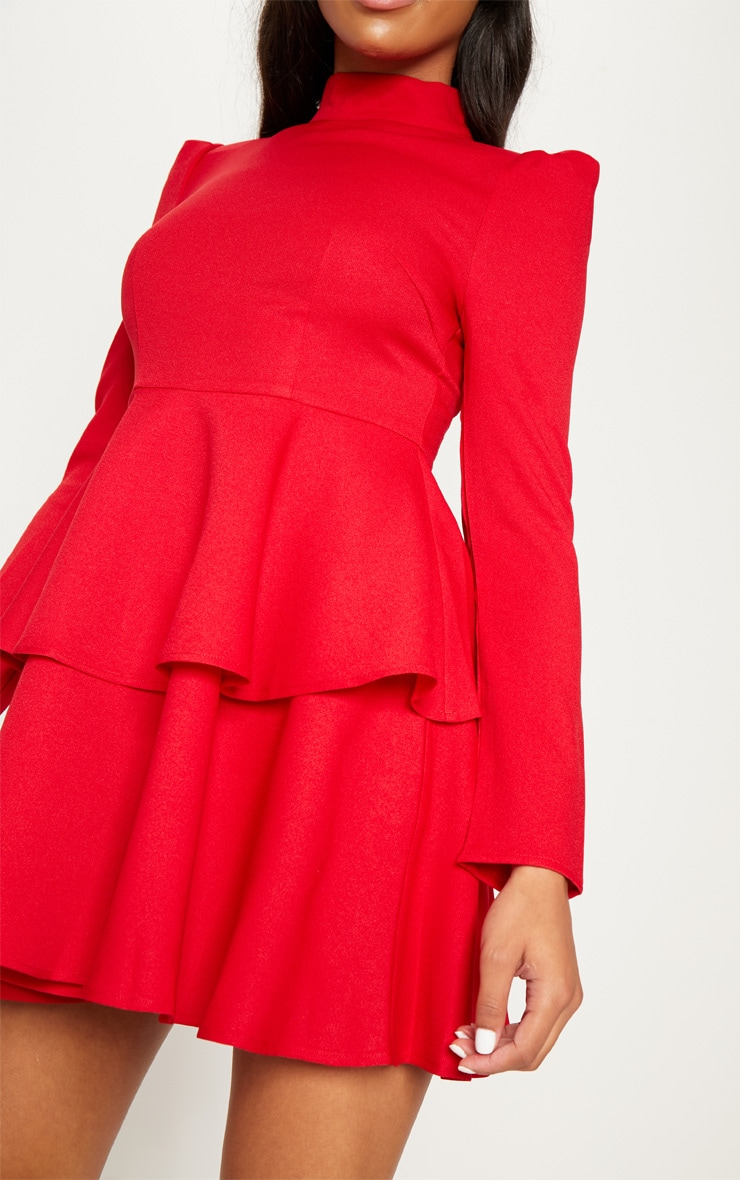 Red High Neck Tiered Skater Dress 5