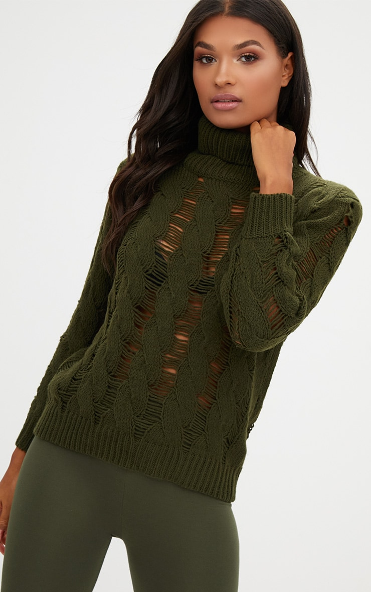 Khaki Roll Neck Distressed Knitted Jumper  1