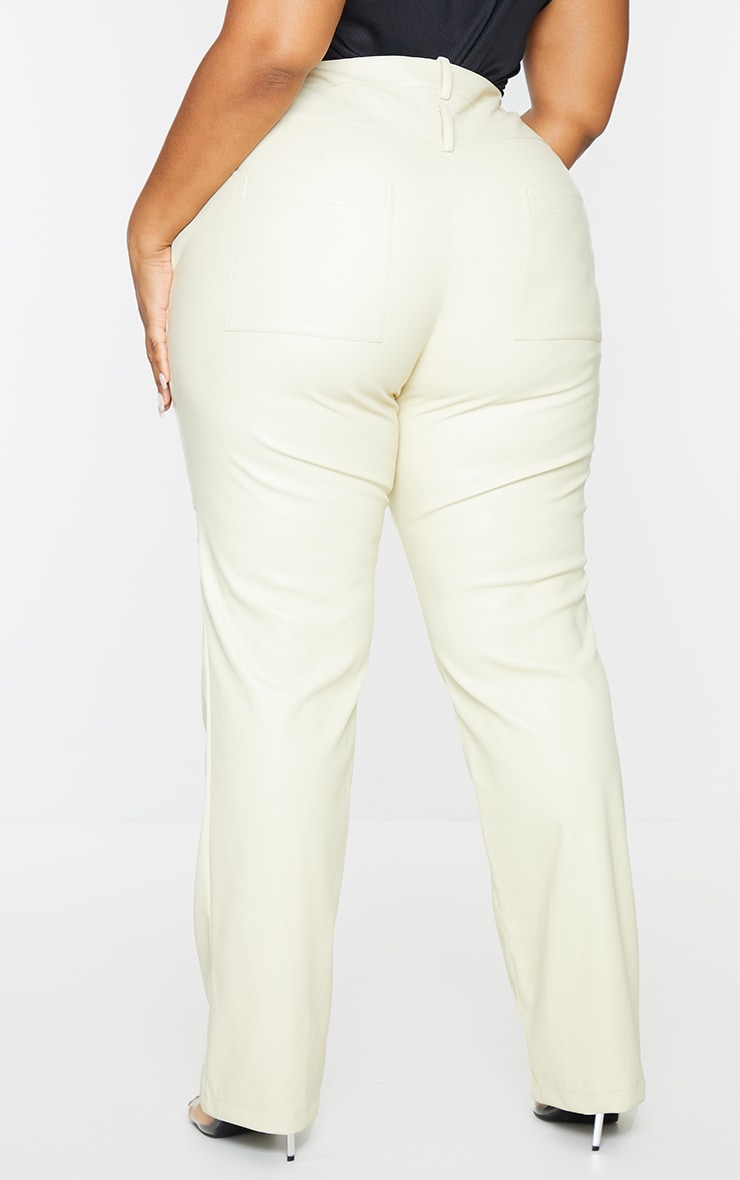 Plus Cream Faux Leather Double Waistband Straight Leg Trousers 3