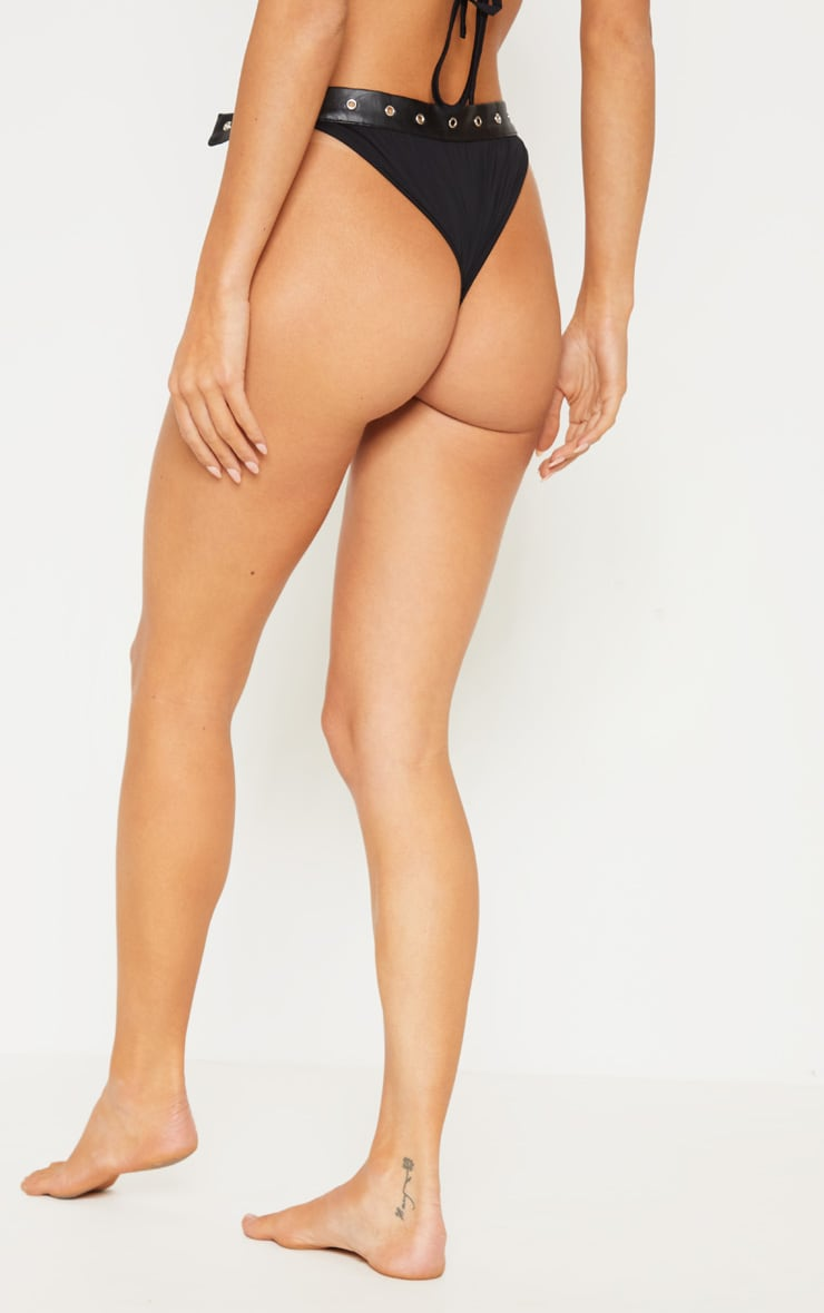 Black Buckle Strap Bikini Bottoms 4