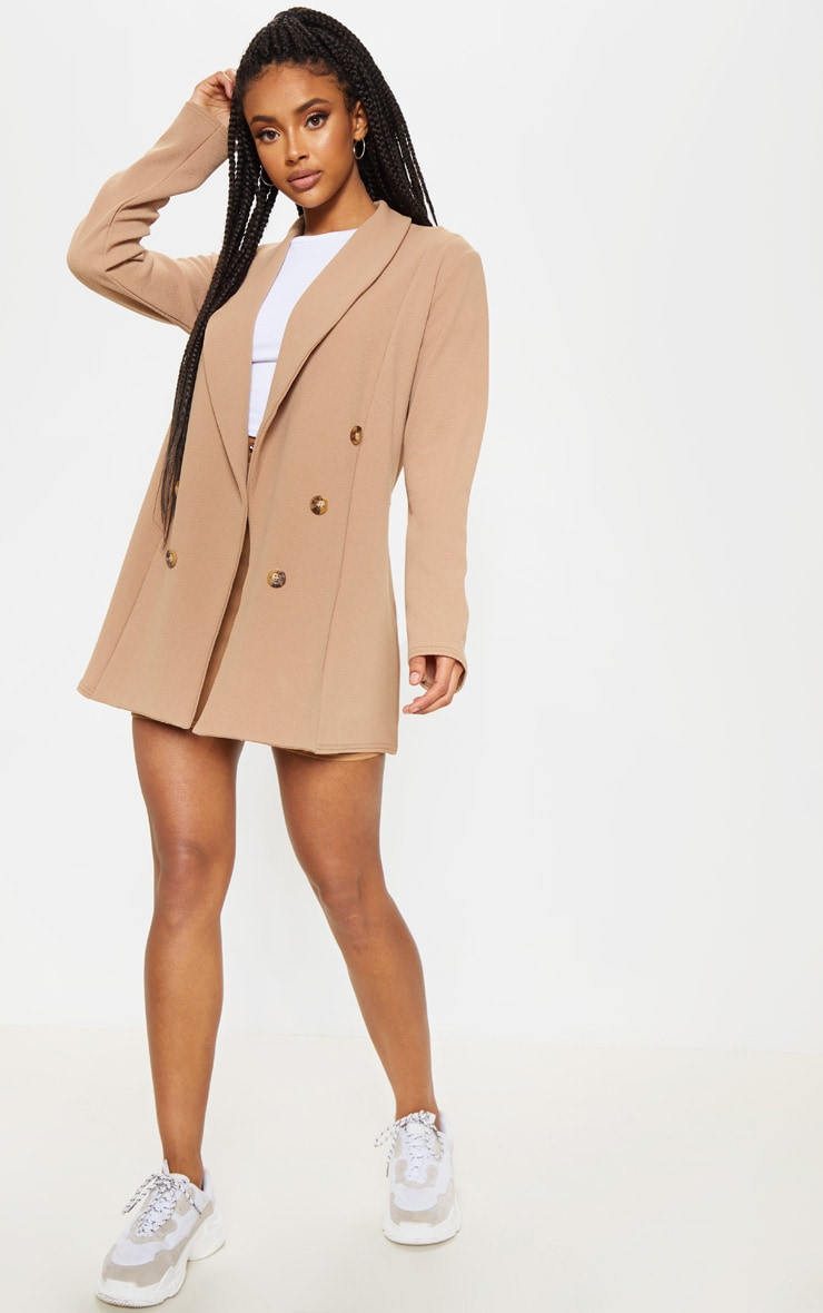 Camel Oversized Button Detail Blazer 4