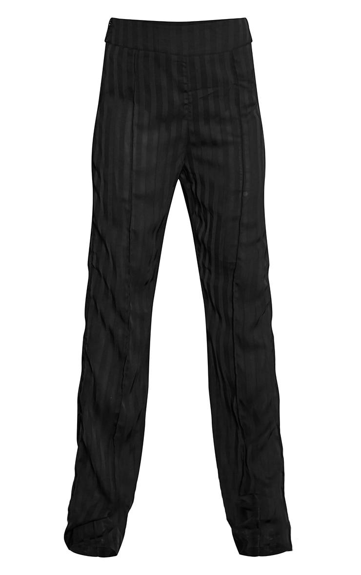 Black Woven Sheer Pintuck Straight Leg Trousers 5