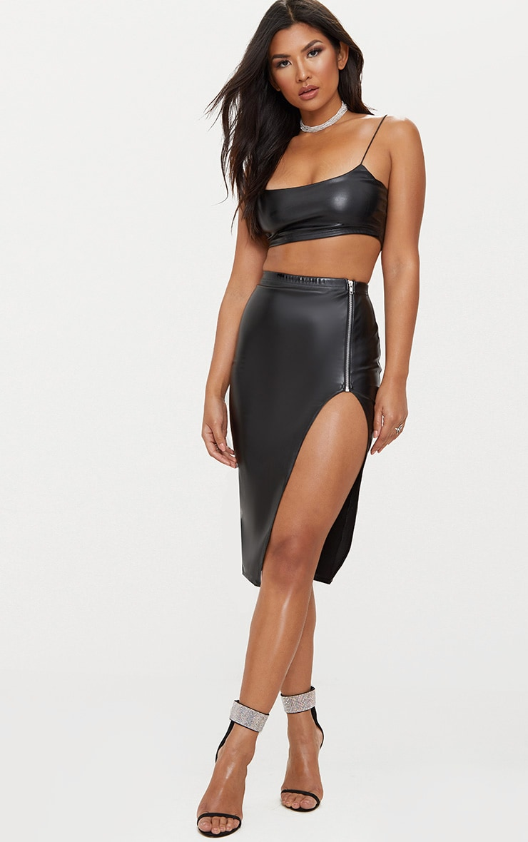 Black Faux Leather Extreme Split Skirt 1