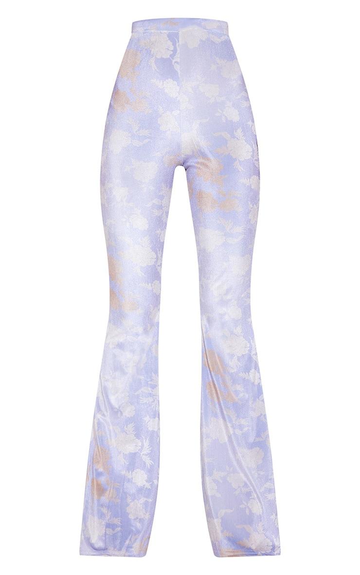 Lilac Floral Velvet Flared Pants 3