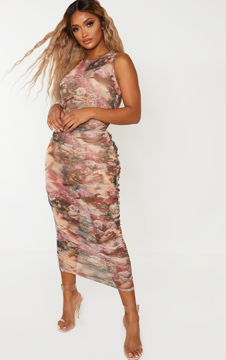Shape Nude Renaissance Print Sleeveless Midi Dress 3