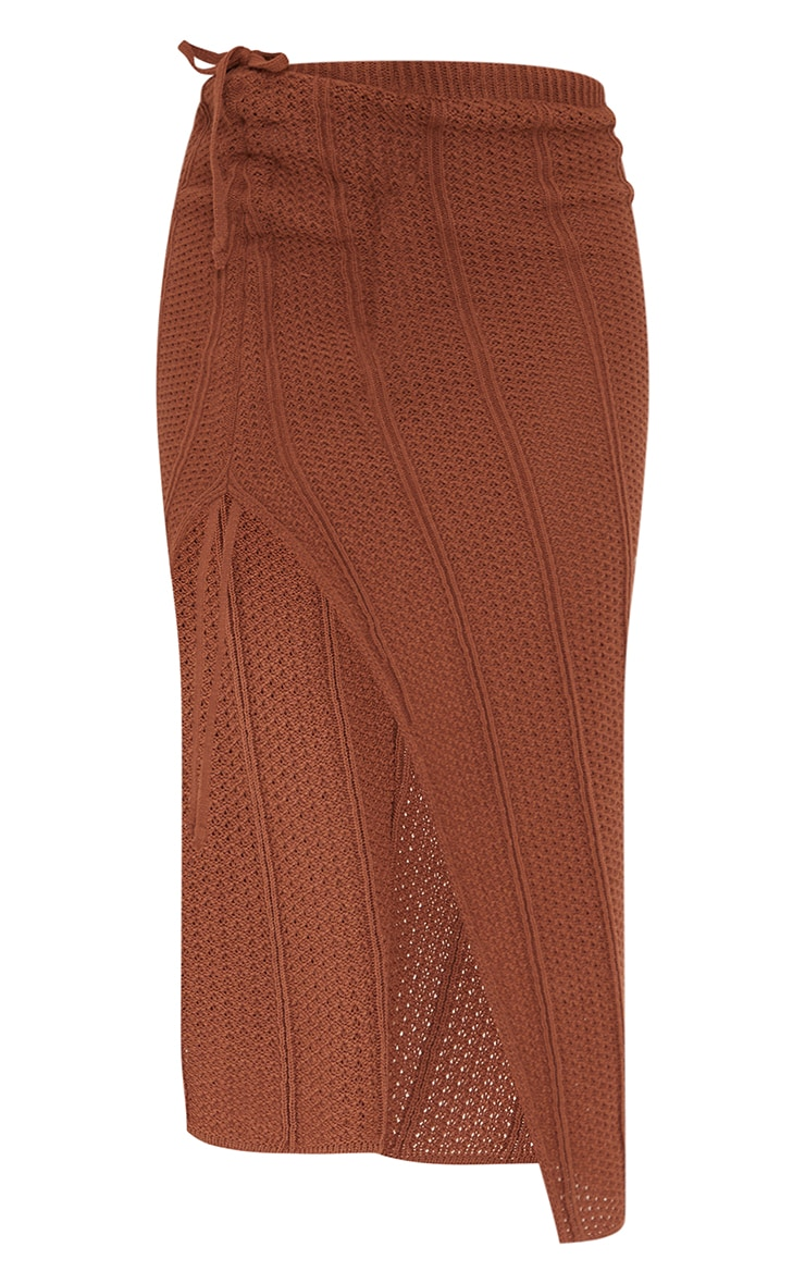 Rust Pointelle Tie Side Ruched Skirt 5