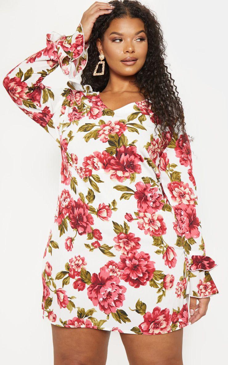 Plus Cream Floral Ruffle Detail Shift Dress 1