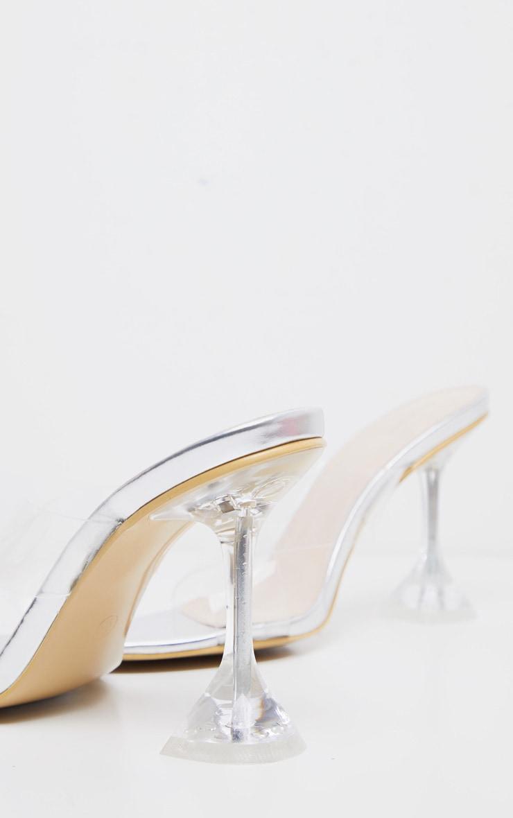 Silver Cross Strap Clear Mule Sandal 4