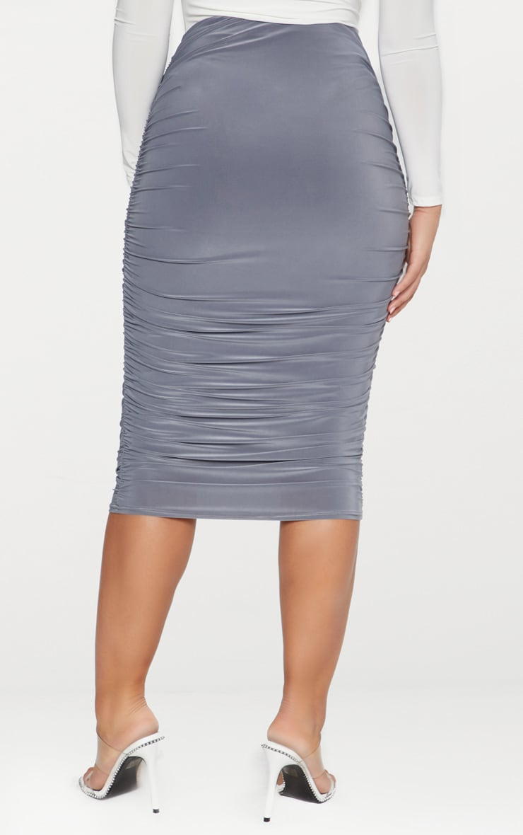 Grey Slinky Second Skin Ruched Midi Skirt 4