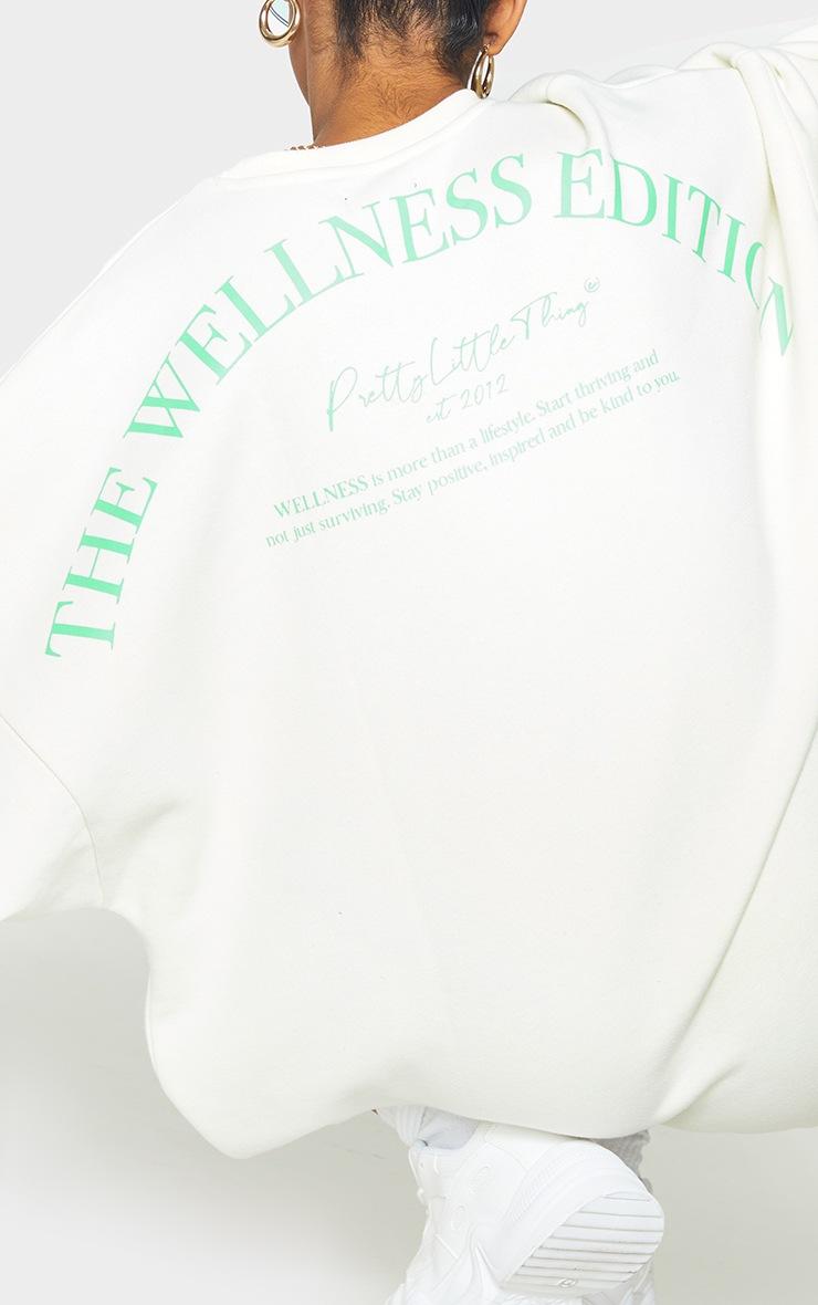 Recycled Cream Wellness Edition Slogan Sweat Jumper Dress 4