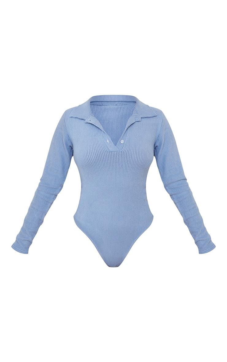 Petite Steel Blue Brushed Rib Polo Bodysuit 5