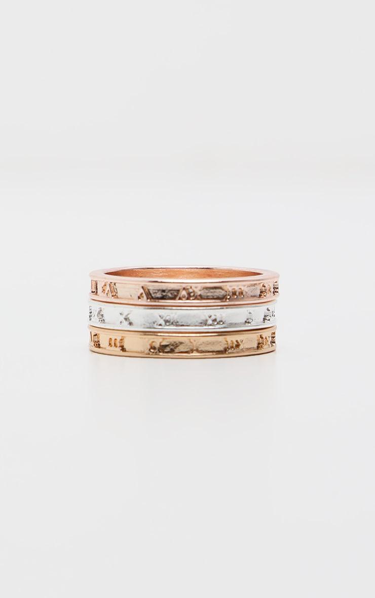 Multi Roman Numeral Skinny Ring 3 Pack 3