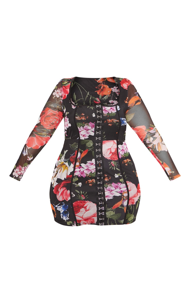 Black Floral Print Piped Detail Bodycon Dress 4