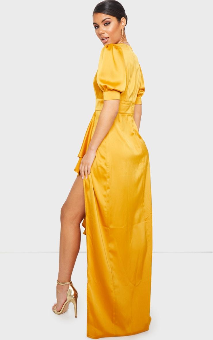 Mustard Satin Short Sleeve Frill Detail Maxi Dress 2