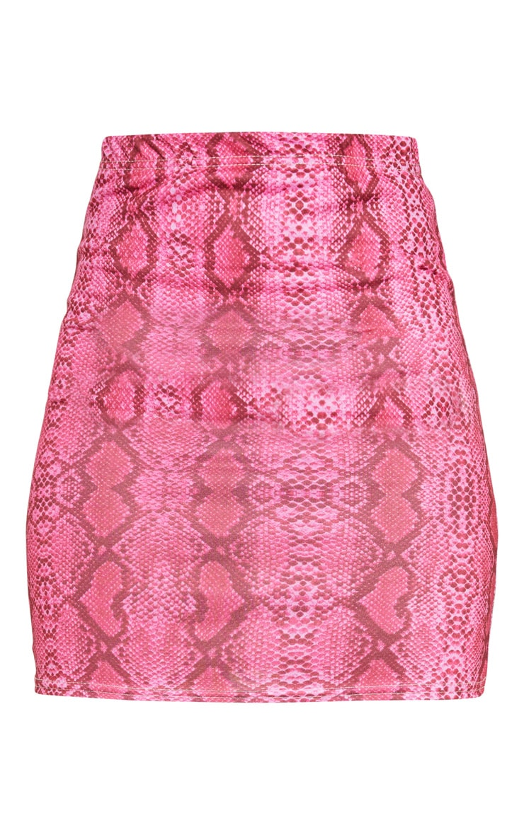 Hot Pink Snake Print Mini Skirt 5
