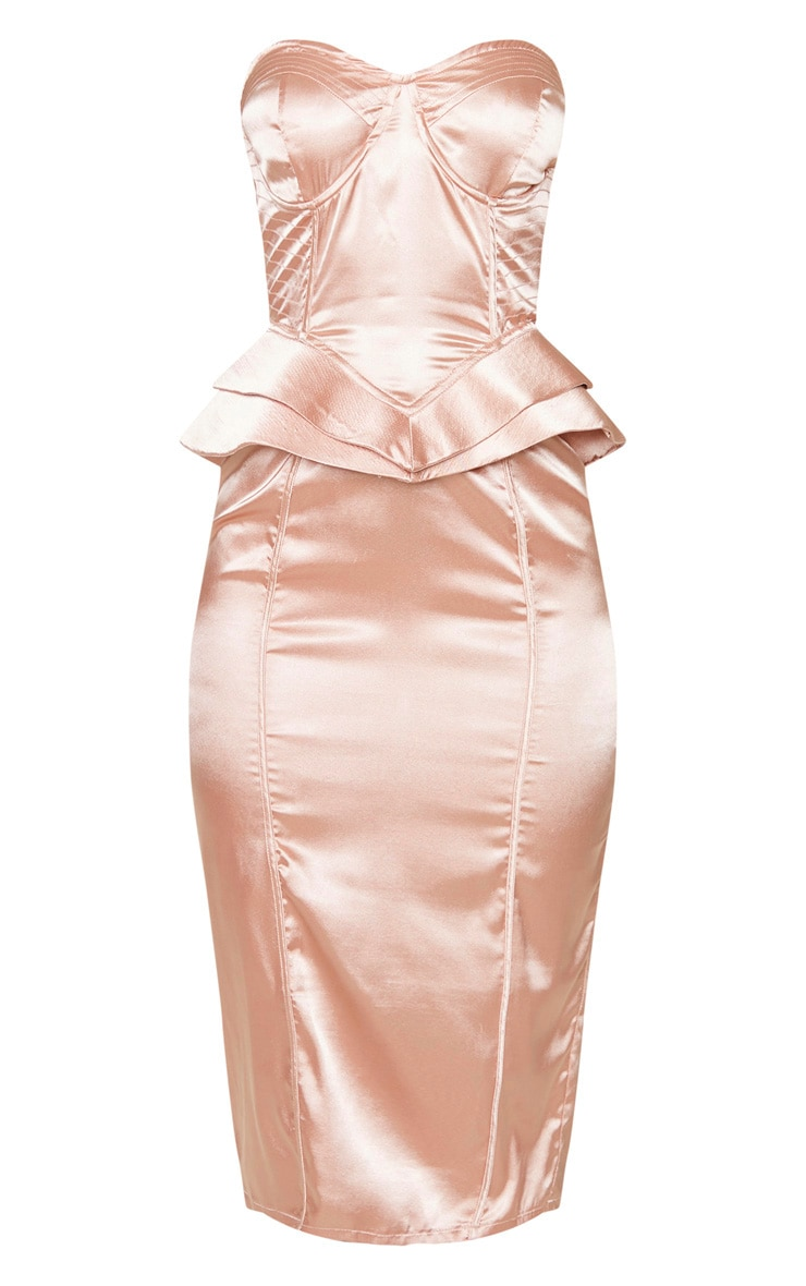 Nude Satin Corset Structured Peplum Midi Dress 3