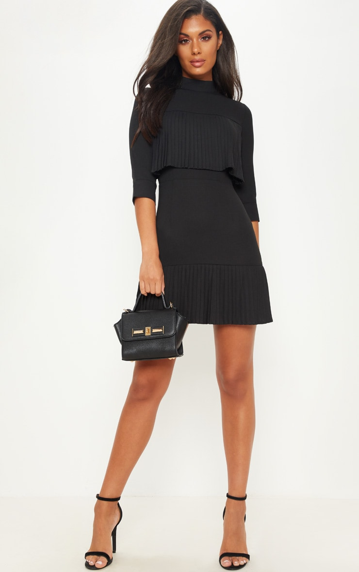 Black Pleated Detail Frill Hem Bodycon Dress 1