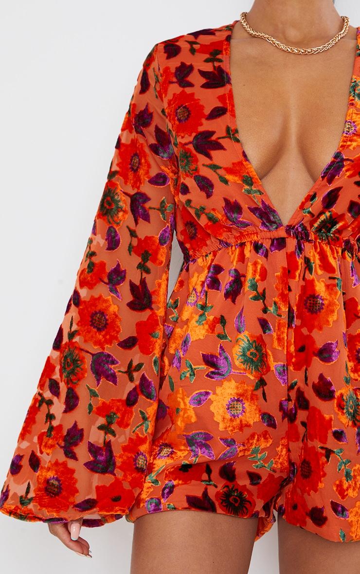 Orange Floral Devore Plunge Romper 4
