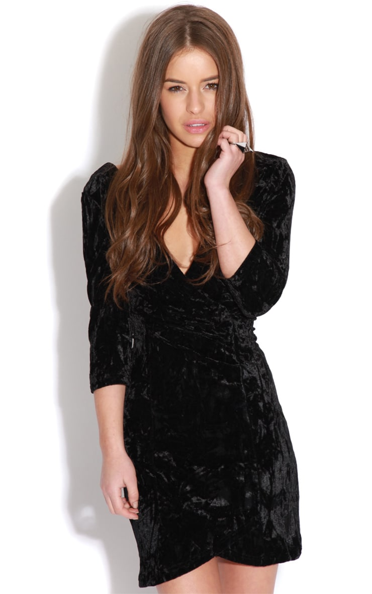 Isabella Black Crushed Velvet Crossover Dress 4