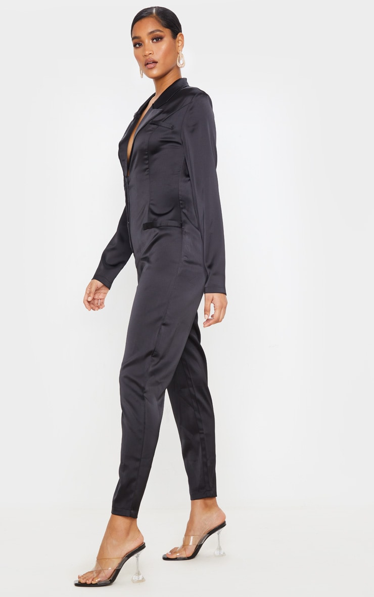 Black Long Sleeve Tailored Satin Jumpsuit 4