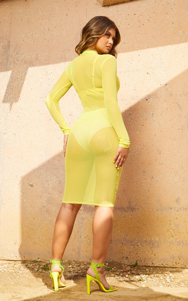 Lime Second Skin Sheer Mesh Midi Dress 2