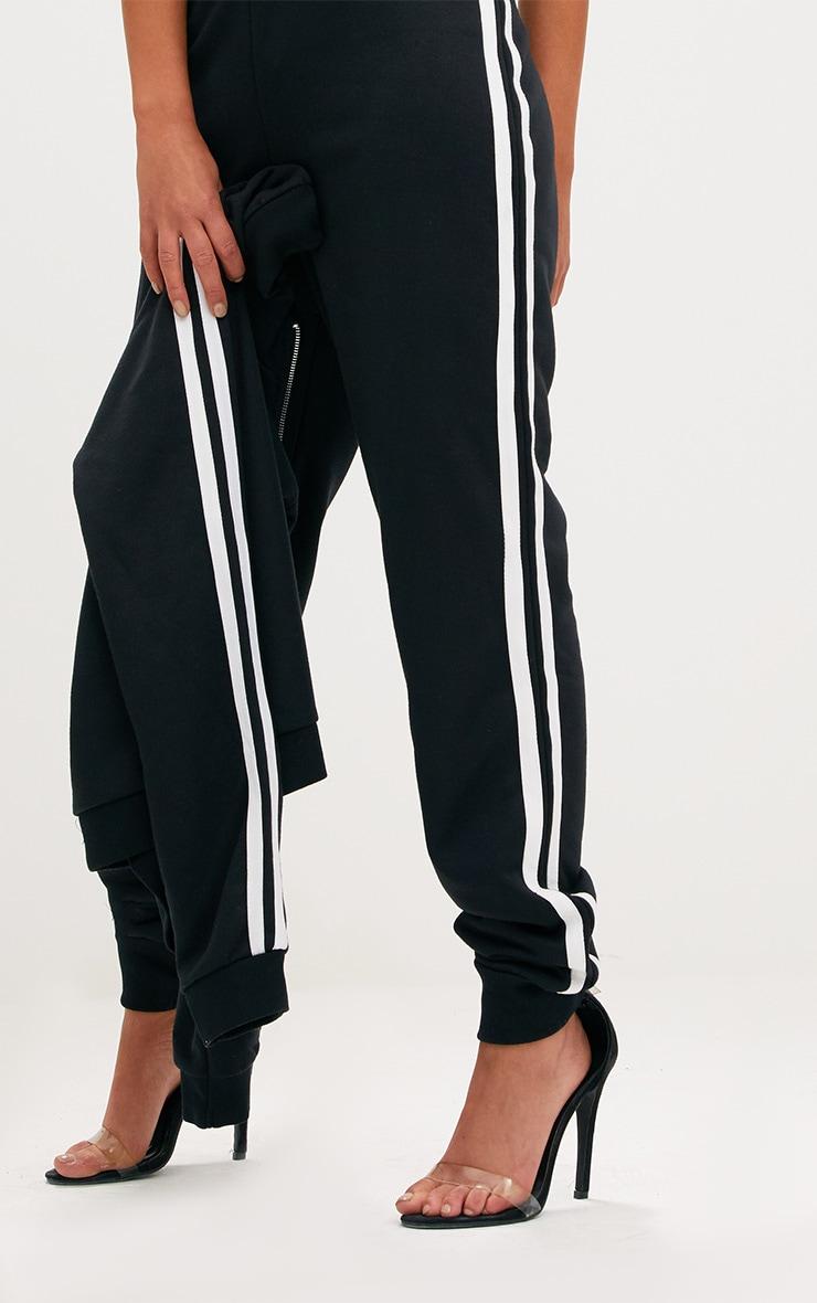 Black Contrast Stripe Joggers  5