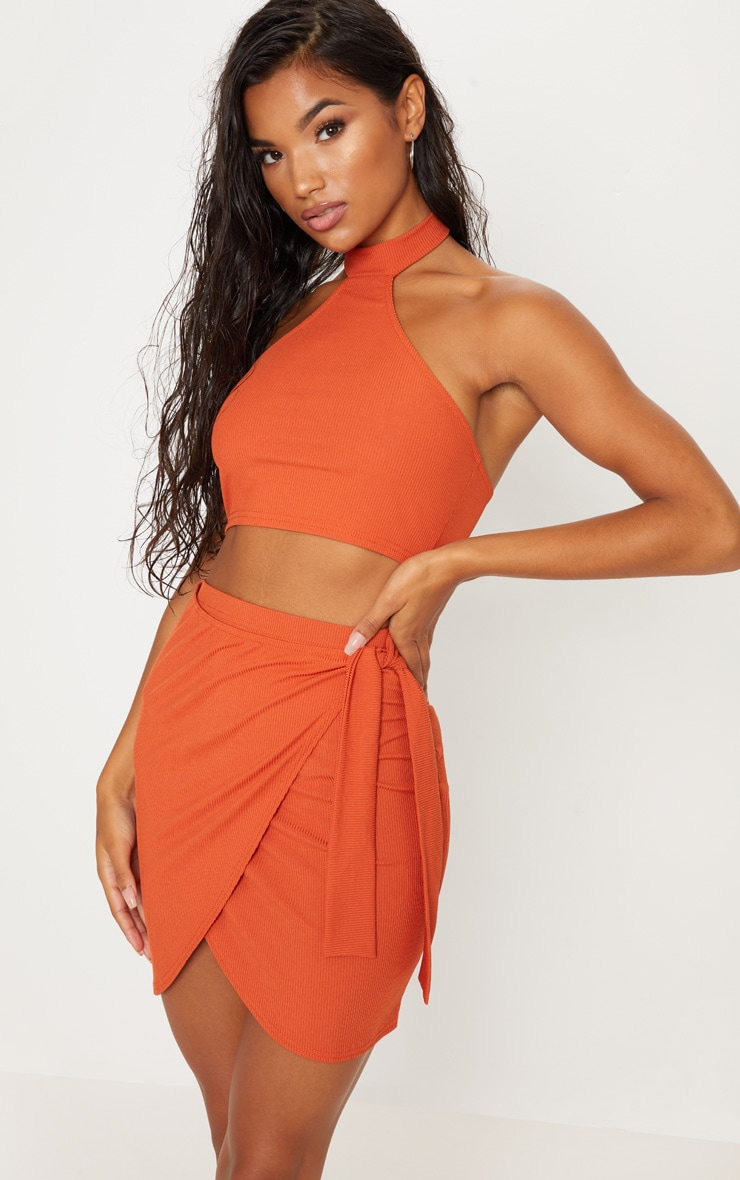 Burnt Orange Rib Tie Front Skirt