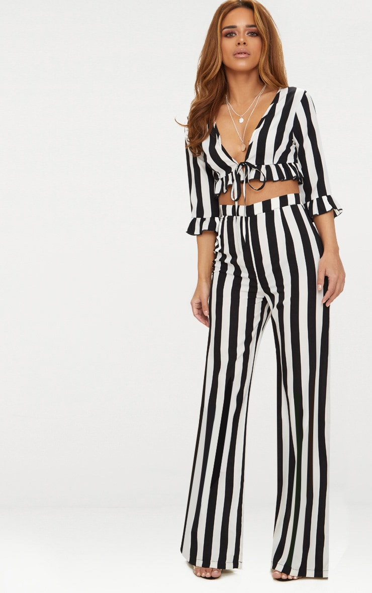 Petite Black Monochrome Stripe Wide Leg Trousers 1