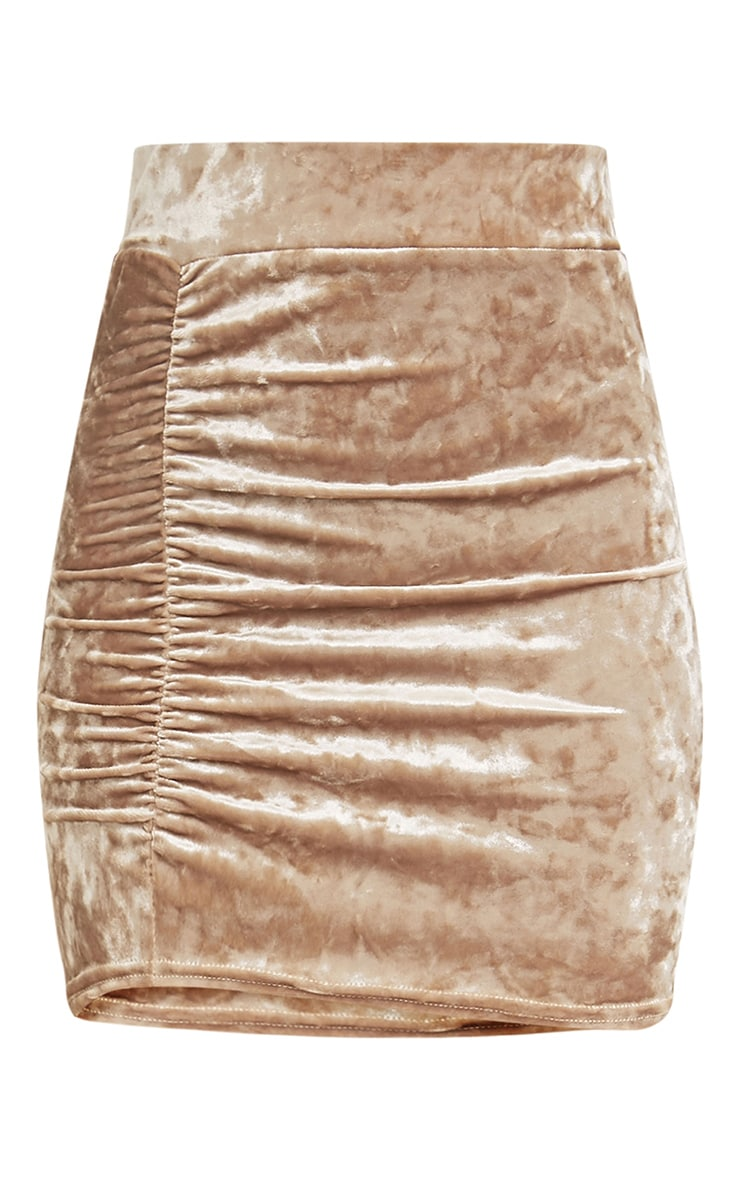 Elettra  Champagne Crushed Velvet Side Ruched Mini Skirt  3