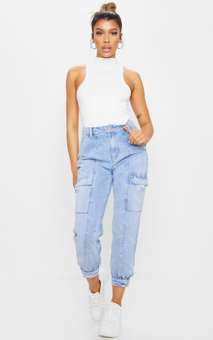 Vintage Wash Cargo Pocket Denim Jeans 1