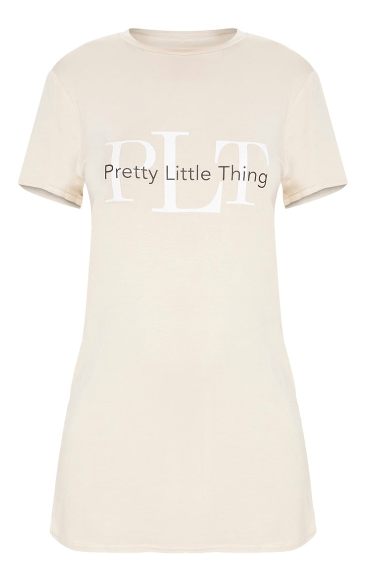 PRETTYLITTLETHING Sand Mirrored T Shirt Dress 3