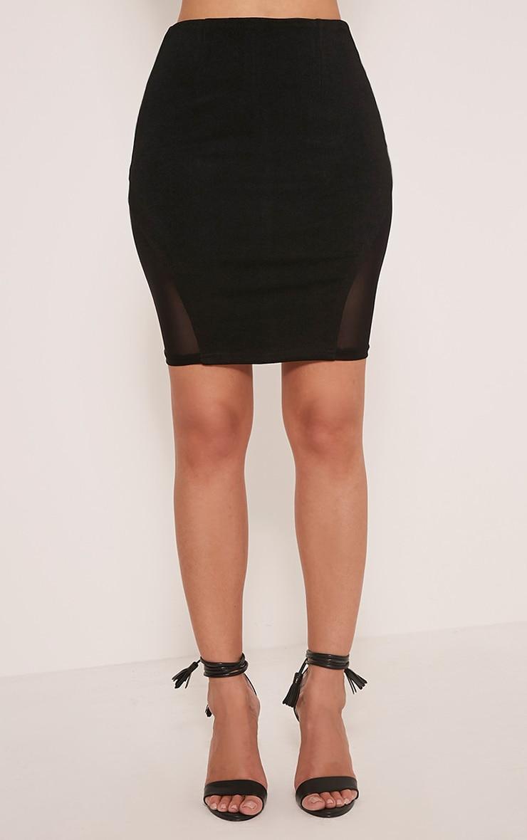Cleo Black Mesh Insert Mini Skirt 2