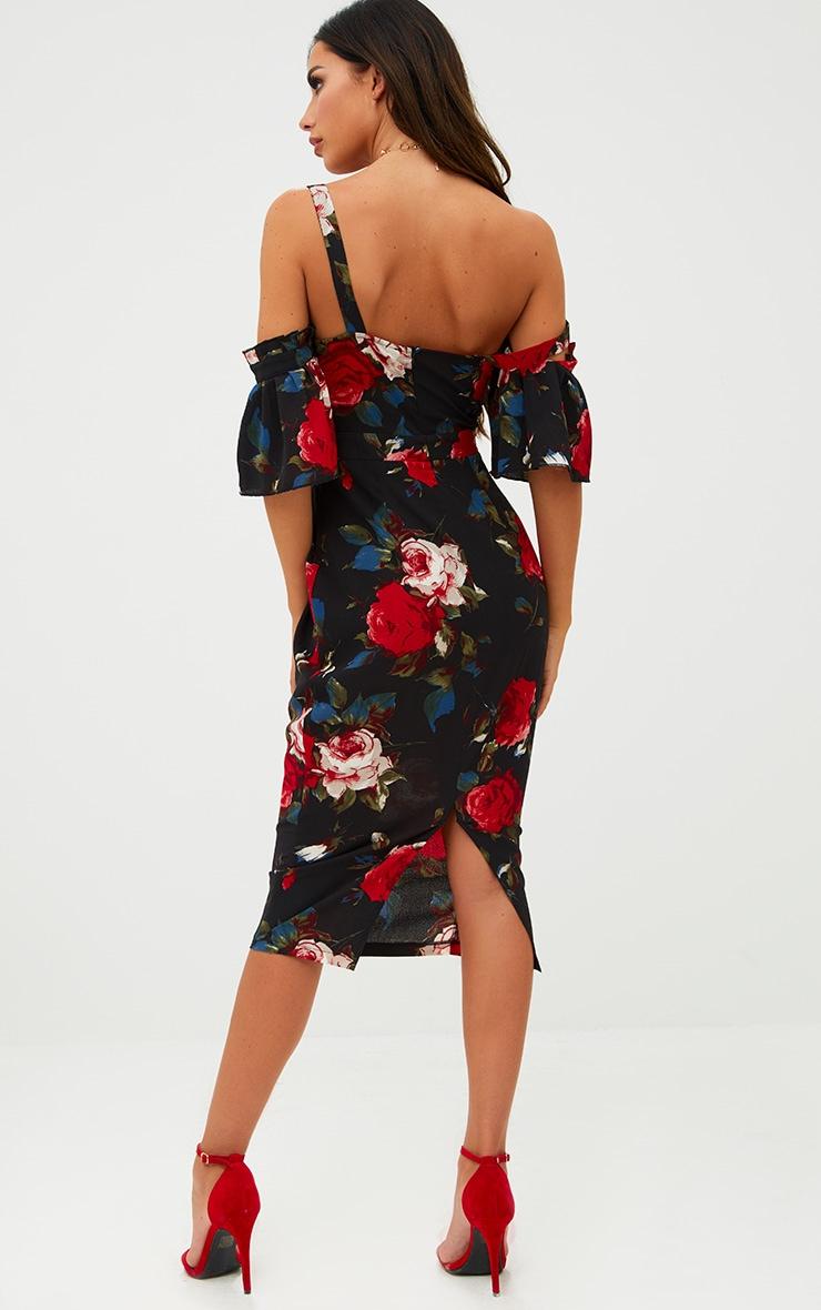 Black Floral Cold Shoulder Midi Dress 2