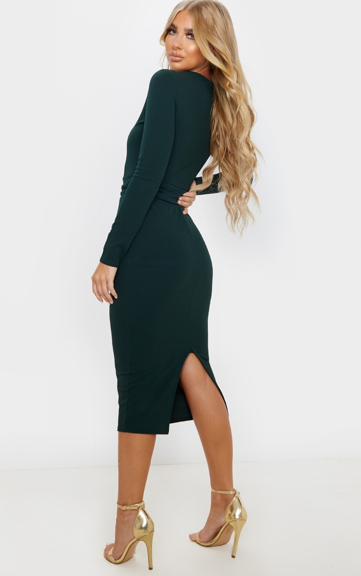 Emerald Green Long Sleeve Wrap Waist Midi Dress 2