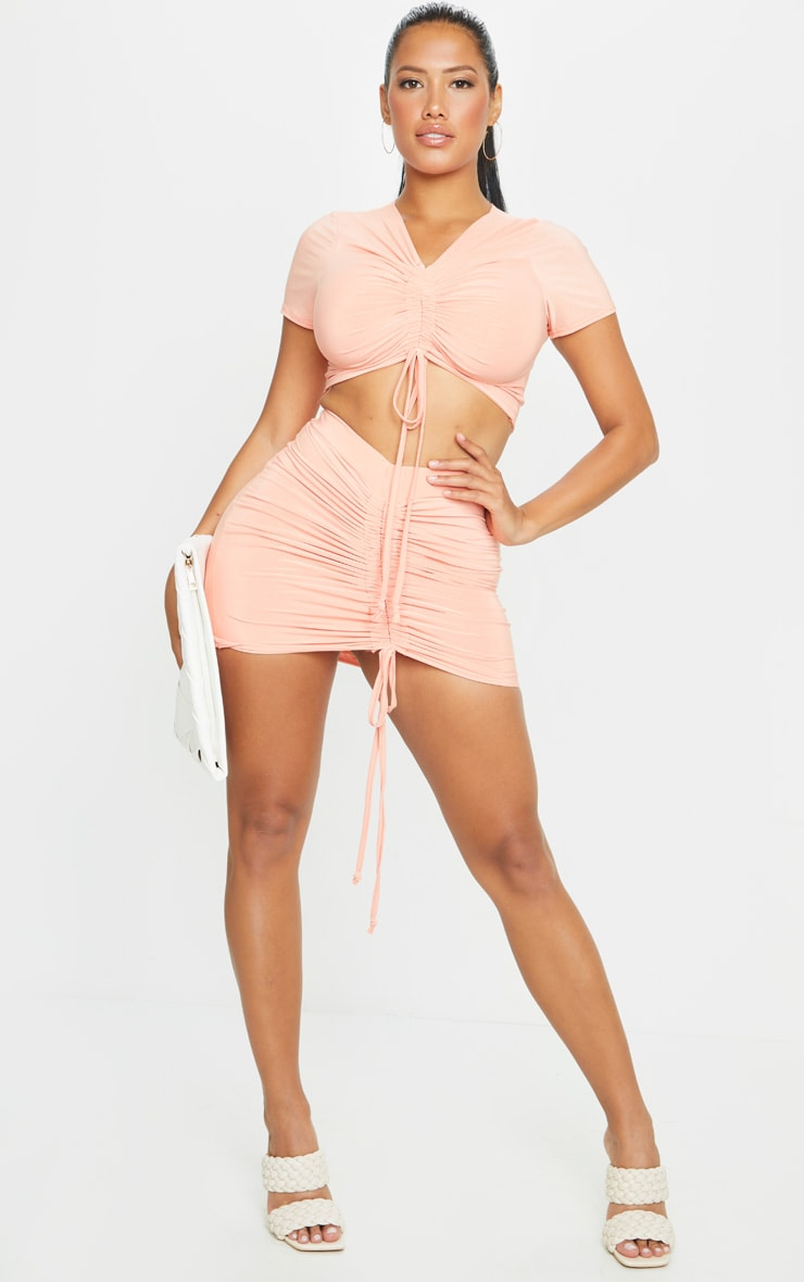 Shape Peach Slinky Ruched Front Bodycon Skirt 1