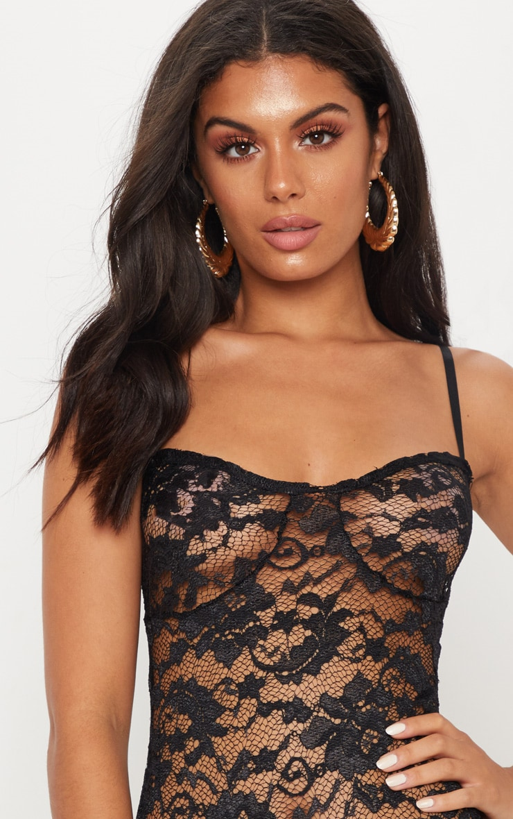 Black Strappy Lace Cup Detail Thong Bodysuit 6
