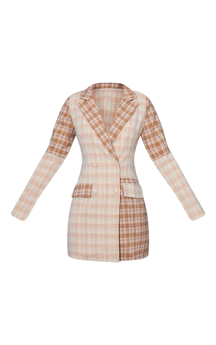 Stone Shoulder Pad Contrast Check Button Shirt Dress 5