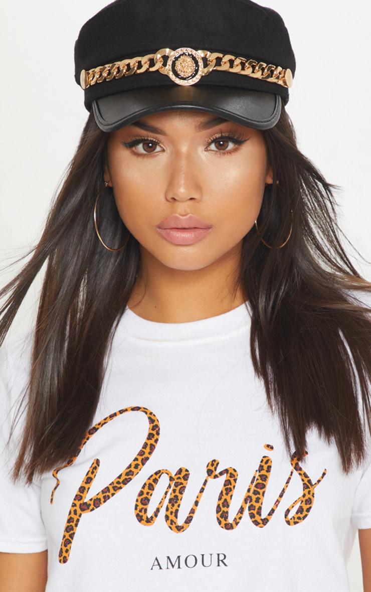 Black Gold Chain Baker Boy Hat