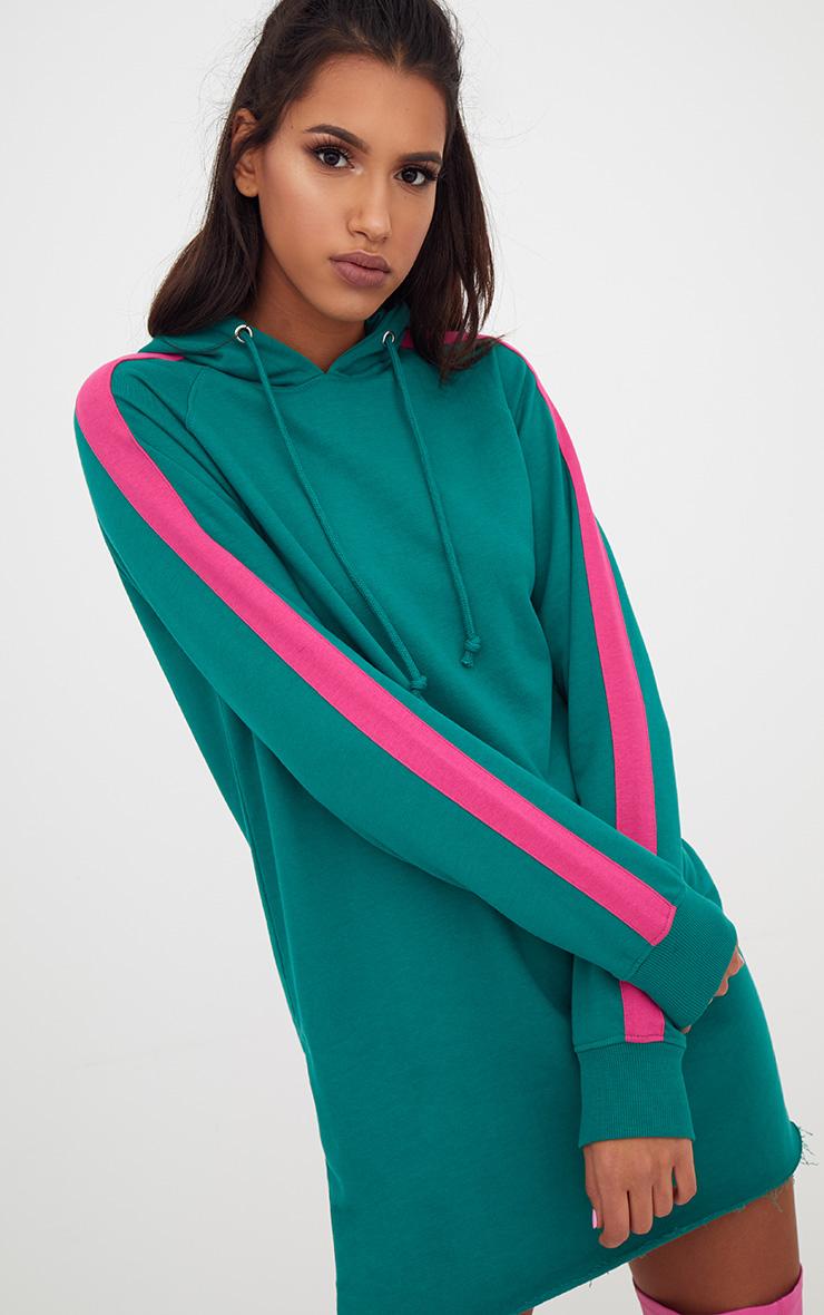 Green Loop Back Hooded Sports Stripe Sweater Dress 1